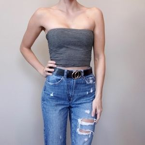 5/$25 Seductions Striped Strapless Crop Tube Top